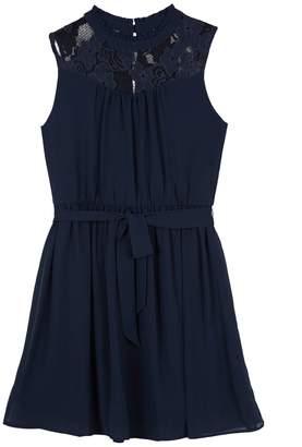 Amy Byer Iz Girls 7-16 IZ Georgette Lace Yoke A-Line Dress