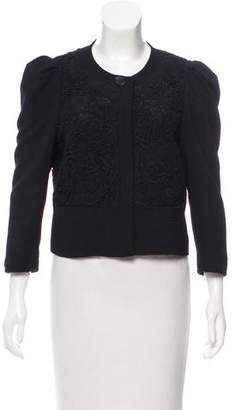 Tibi Guipure Lace Accented Crop Jacket