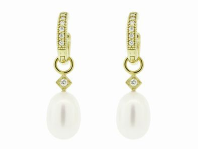 Jude Frances Simple Pearl Charms in Yellow Gold