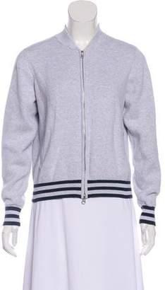 Cotton by Cashmere Zip-Up Rib Knit Trim Sweatshirt