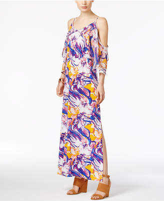 NY Collection Printed Cold-Shoulder Maxi Dress $70 thestylecure.com