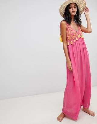 Asos DESIGN embroidered pom pom trim halter maxi beach dress