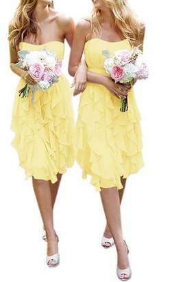 ModeC Women's Short Chiffon Sweetheart Bridesmaid Dresses Prom Gowns Pleats US
