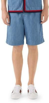 Gucci Belted Denim Bermuda Shorts