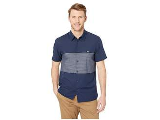 Lacoste Short Sleeve Engineering Stripes Poplin Cotton/Linen Casual No Button Down Collar Slim Fit