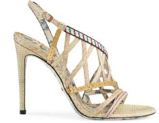 Gucci Python sandal with sequins