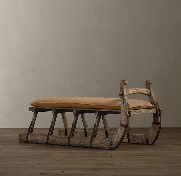 Antique Hungarian Sleigh Bench - 68