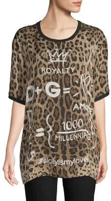 Dolce & Gabbana Women's Leopard Millennial Long Silk Tee