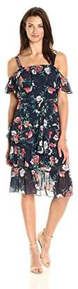 Eliza J Women's Flutter Sleeve Ruffle Dress