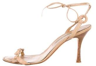 Manolo Blahnik Leather Tie Sandals