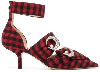 Midnight 00 Crystal Embellished Checked Twill Pumps - Womens - Black Red