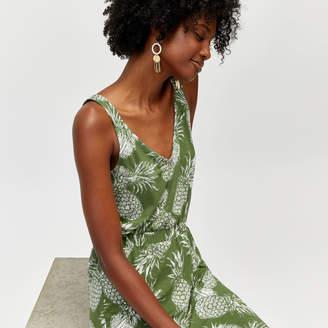 Warehouse Pineapple Print Midi Dress