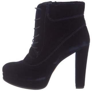 Stuart Weitzman Platform Velvet Ankle Boots