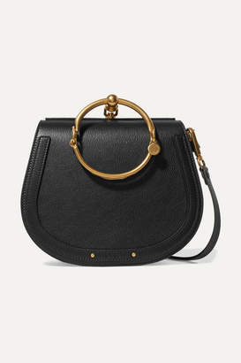 Chloé Nile Bracelet Medium Leather And Suede Shoulder Bag - Black