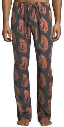 Desmond & Dempsey Men's Tiger-Print Lounge Trousers