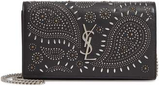 Saint Laurent Kate Studded Leather Wallet on a Chain