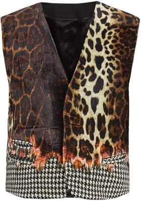 Haider Ackermann Leopard-print velvet waistcoat