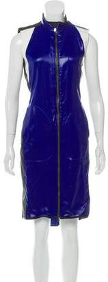 Reed Krakoff Leather Paneled Zip Midi Dress