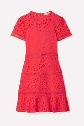 MICHAEL Michael Kors Crochet-trimmed Broderie Anglaise Cotton Mini Dress - Papaya