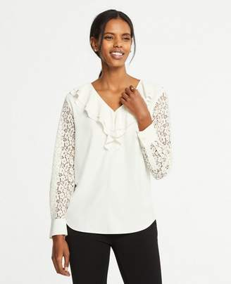 Ann Taylor Petite Ruffle Lace Sleeve Blouse