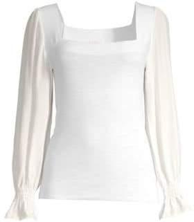 Rebecca Taylor Merino Wool& Silk Poet Sleeve Blouse