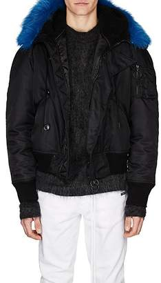 Off-White Men's Faux-Shearling-Hood Bomber Jacket - Black