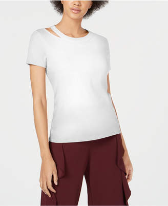 Bar III Cotton Cutout-Neck Top