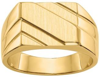 14K Gold Men's Satin Channel Ring
