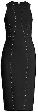 Michael Kors Women's Studded Stretch Pebble Crepe Sheath Dress