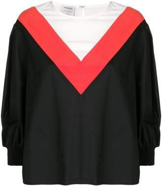 Pinko colour block bell sleeve blouse
