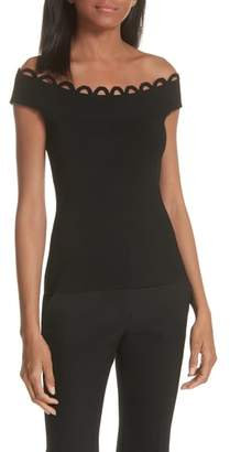 Milly Scallop Neck Knit Top
