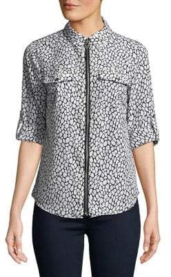 MICHAEL Michael Kors Printed Full-Zip Top
