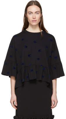 McQ Black Swallow Flock Ruffled T-Shirt