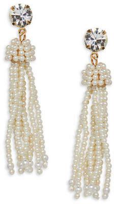 Cezanne Tassels Large Round Ivory Bead Earrings