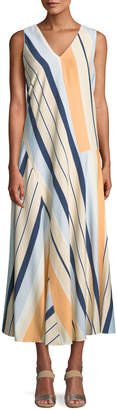 Lafayette 148 New York Divinity Striped Drop-Waist Maxi Dress