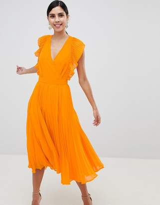 Asos Design DESIGN Pleated Ruffle Midi Dress With Cut Outs