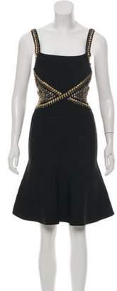Herve Leger Studded Bandage Dress Black Studded Bandage Dress