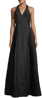 Halston Embroidered V-Neck Halter Gown