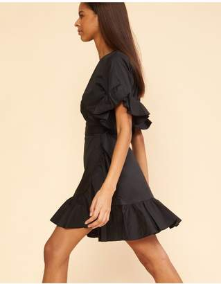 Cynthia Rowley Black Wallflower Ruffle Wrap Dress