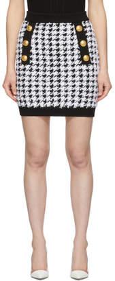 Balmain Black Knit Houndstooth Miniskirt
