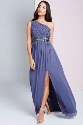 Little Mistress Lavender Grey One Shoulder Maxi Dress