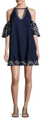 Red Carter Phoebe Embroidered Cold-Shoulder Mini Dress, Blue $250 thestylecure.com