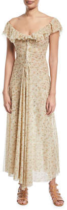 Brock Collection Dora Off-the-Shoulder Mini-Floral Lace-Up Long Dress