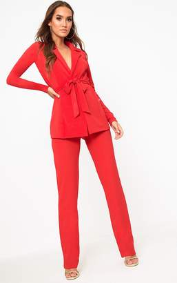 PrettyLittleThing Red Straight Leg Suit Trousers