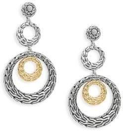 John Hardy Sterling Silver & 18K Yellow Gold Drop Earrings
