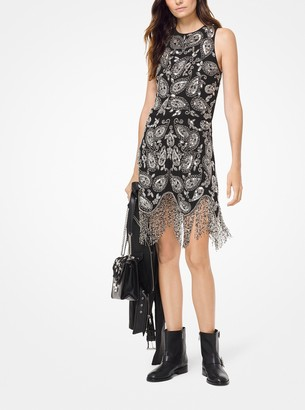 MICHAEL Michael Kors Paisley Embellished Fringe Dress