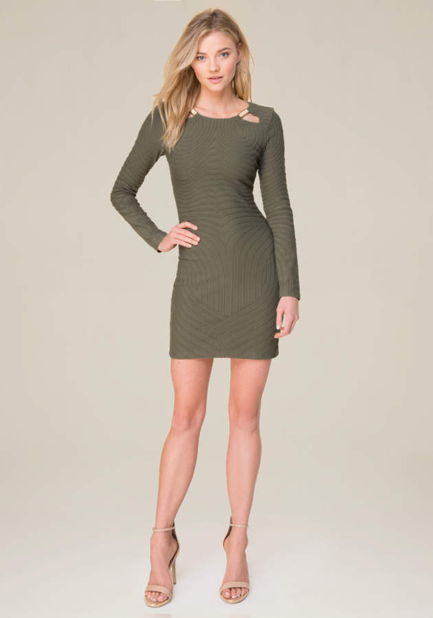 Long Sleeve Moire Dress