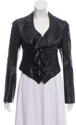 Diane von Furstenberg Leather Ruffle-Accented Jacket