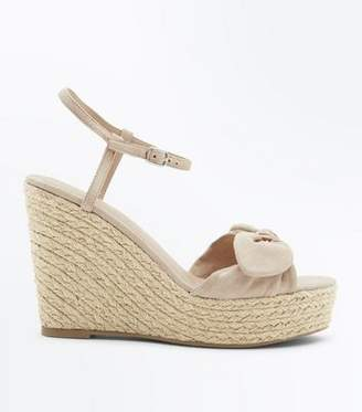 New Look Nude Suedette Bow Strap Wedges