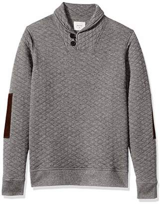 Billy Reid Men's Diamond Quilted Shawl Pullover with Suede Elbow Patches